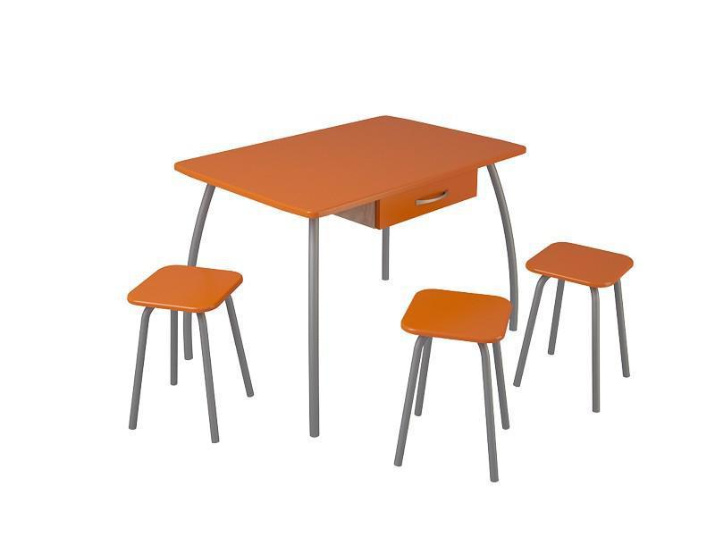 Cтол кухонный большой с ящиком (оранжевый). (Столешница МДФ).