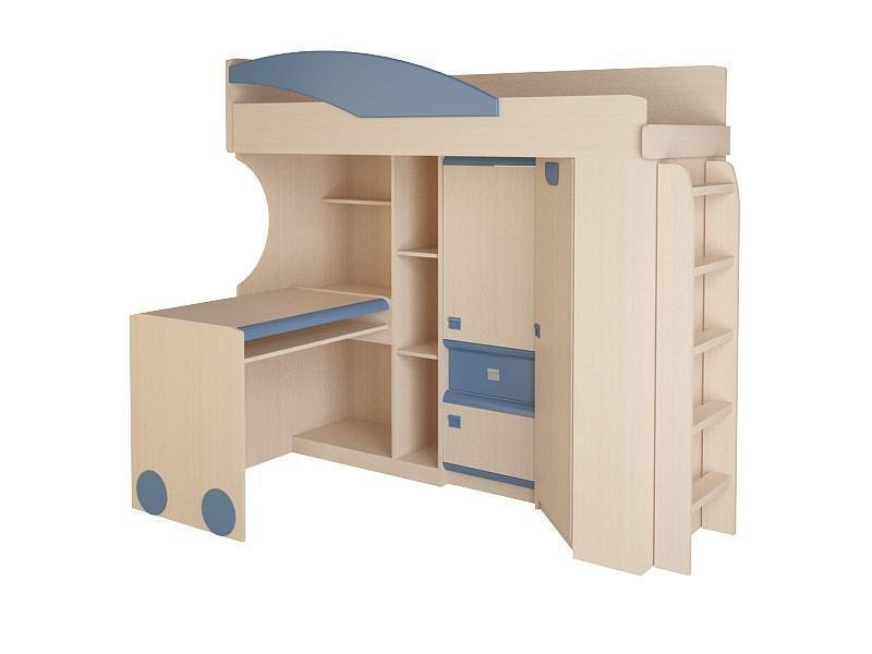Детская № 4.4.3 Л + лестница №2 (синий, оранжевый, эвкалипт)