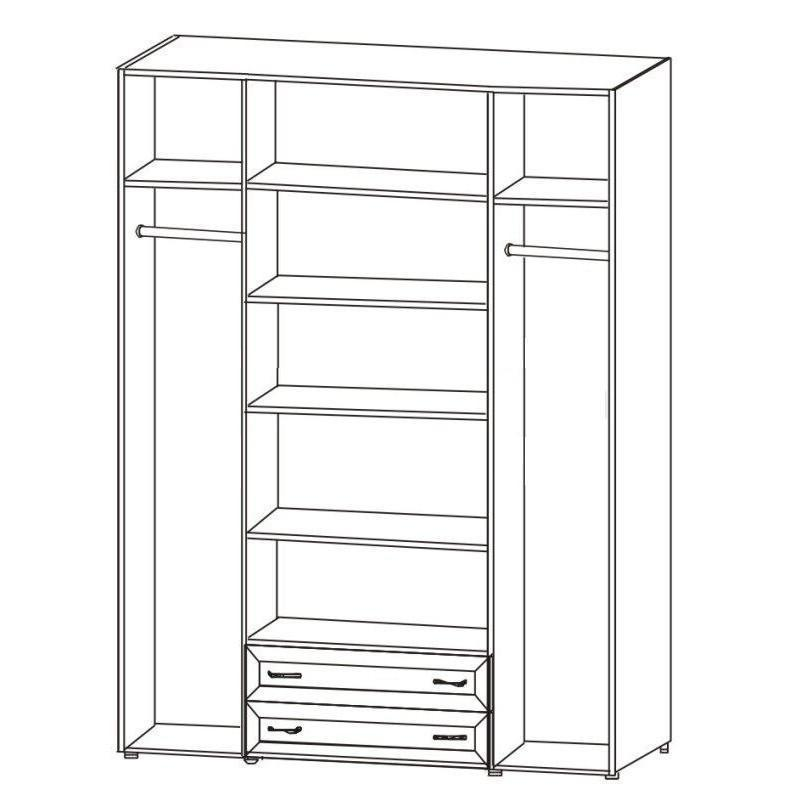 Шкаф 4-х дв. для од. и белья c 2-мя ящиками 6.18 Береста