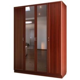 Шкаф для платья и белья 4-х дверный с 2-мя зеркалами