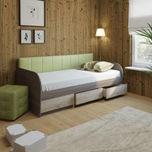 Кровать 12М Серия 4.11 (ель/ель темная) + спинка №7 (зеленая classic)