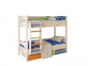 Кровать № 3 (дуб белфорд/эвкалипт/синий/оранжевый). Цветные МДФ детали.