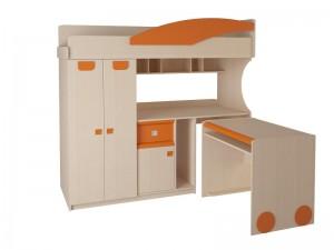 Детская № 4.4.2 Л + выкатной стол (оранжевый,эвкалипт,синий)