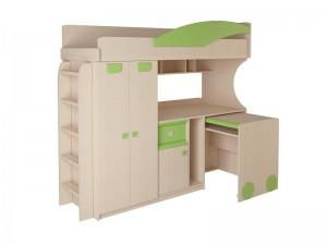 Детская № 4.4.2 Л,П + выкатной стол + лестница №2 (эвкалипт,оранжевый,синий)
