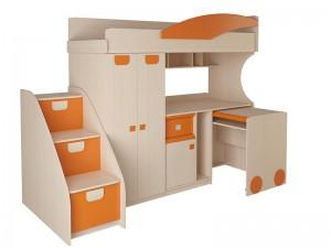 Детская № 4.4.2 Л + выкатной стол + тумба с откидными крышками (синий,эвкалипт,оранжевый)