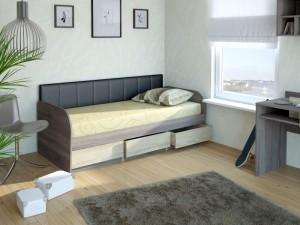 Кровать 12М Серия 4.11 (ель/ель темная) + спинка СМ № 7 (черная classic)