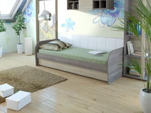 Кровать 18М Серия 4.11 (ель/ель темная) + спинка СМ № 7 (белая classic)