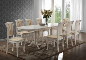 Стол белый обеденный раскладной «Сиена» (Siena SA-T6EX2L)