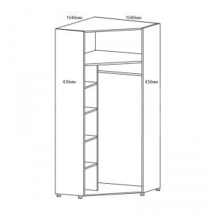Шкаф угловой для одежды 2-х дверный с зерк. 6.21